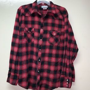 Wrangler Wrancher Flannel Pearl Snaps Plaid XL